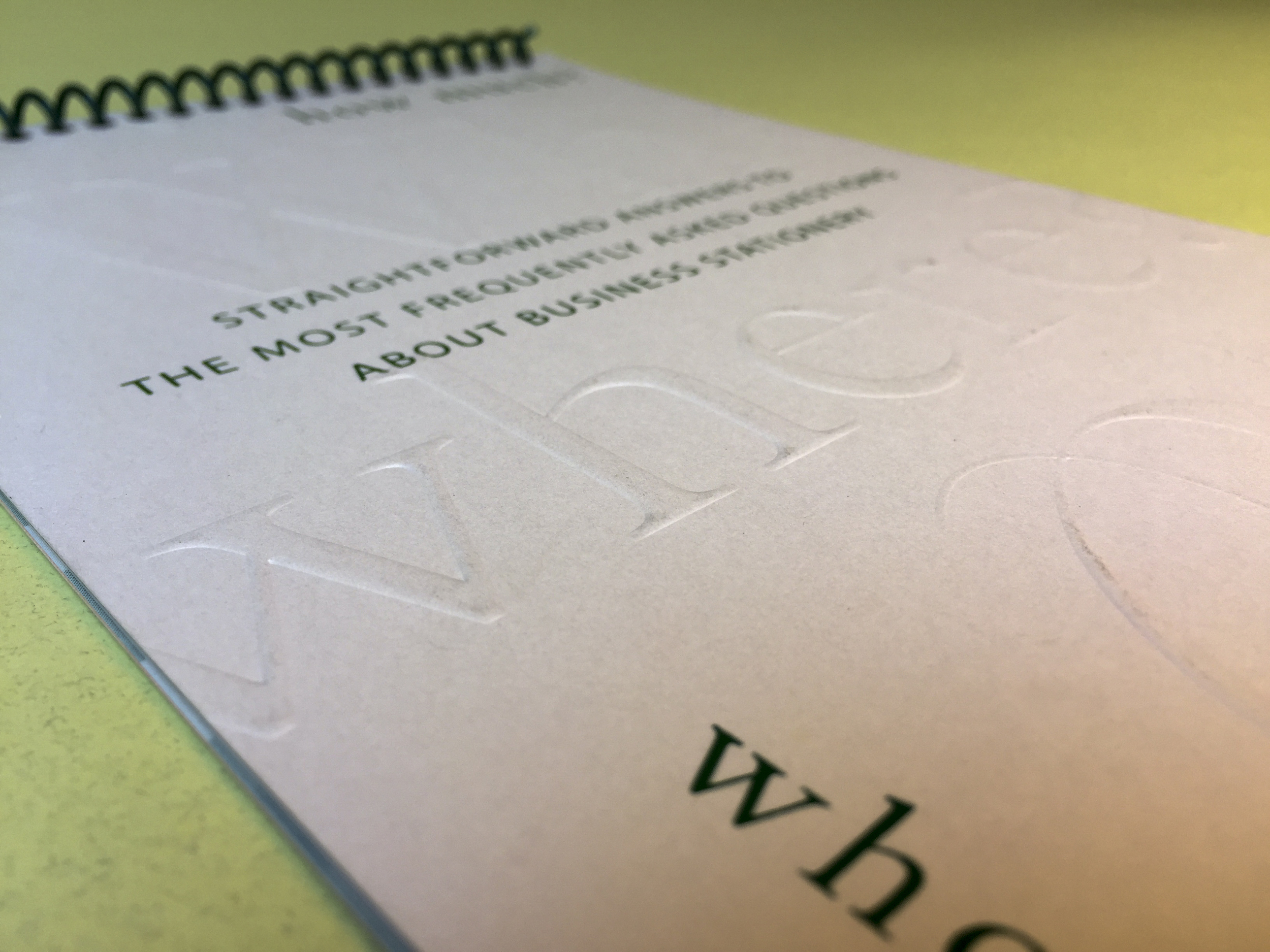 Saint Claire's Stationers: Printing brochure emboss, green foil detail