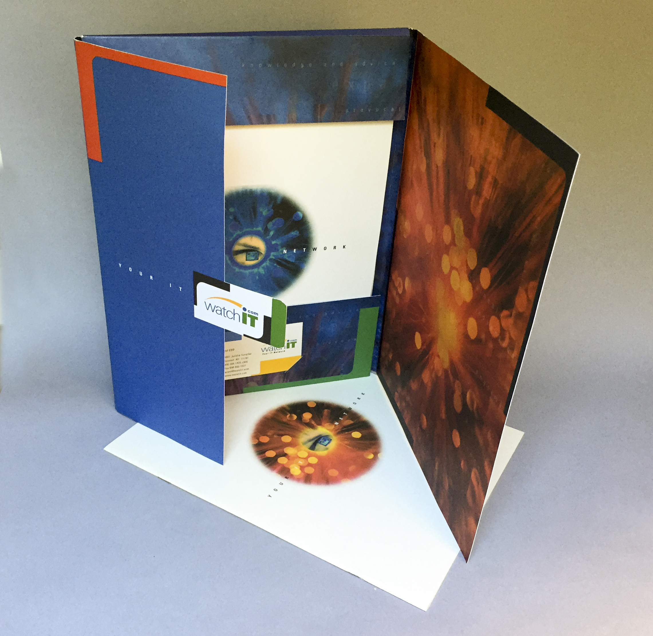 Watch IT:  Folder, brochure, and stationery for an online IT company  Agency:  Snyder Group  Art Director:  Carey Gerwig Jones
