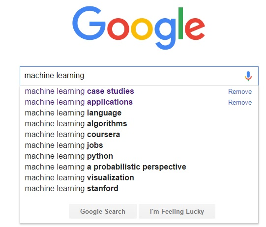 Google output search: machine learning