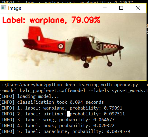OpenCV result for a airplane figure