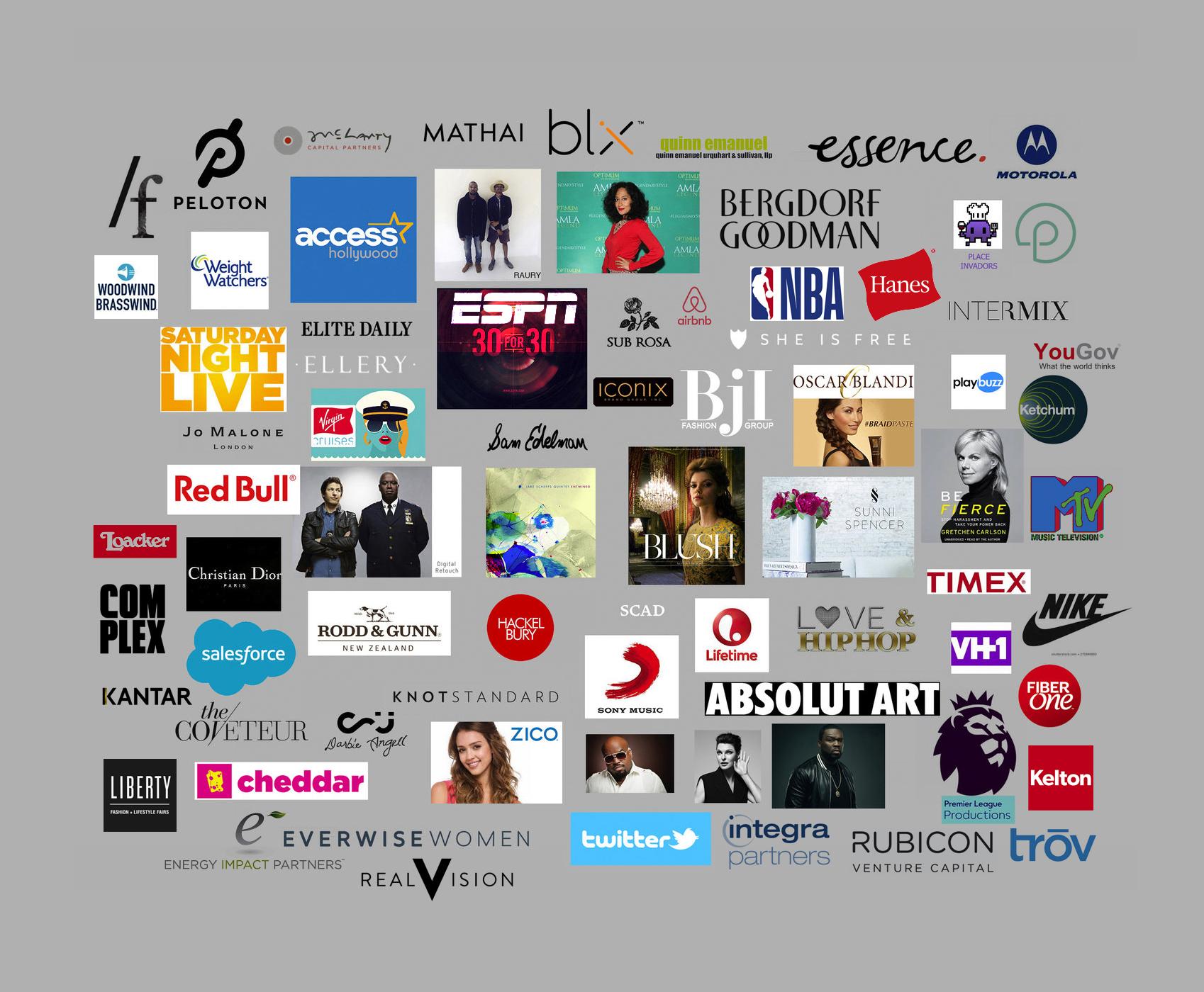 Studio Clients: Christian Dior, Absolute Art, Red Bull, Twitter, SNL, VH1, Virgin, 50Cent, Zico, ESPN, InterMix, Peloton, Sony, Timex, Motorola, Twitter, Access Hollywood...