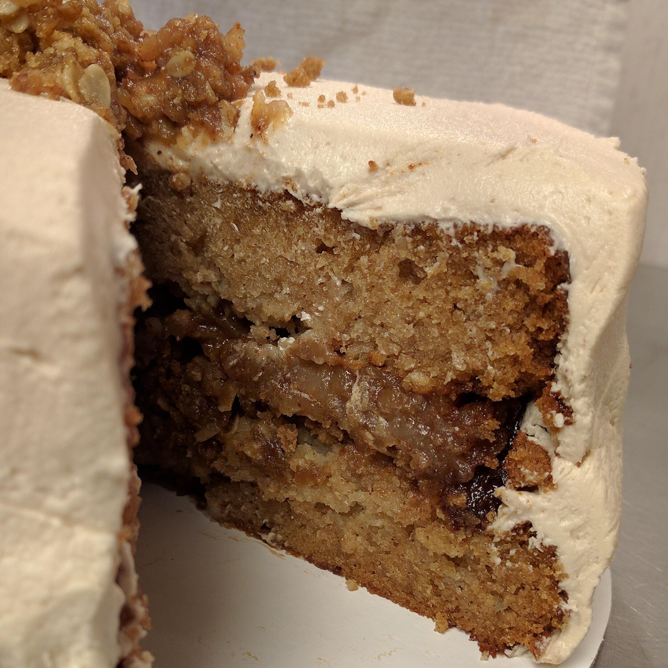 Apple Crisp   Apple cake layers, apple crisp filling, and maple brown sugar buttercream.