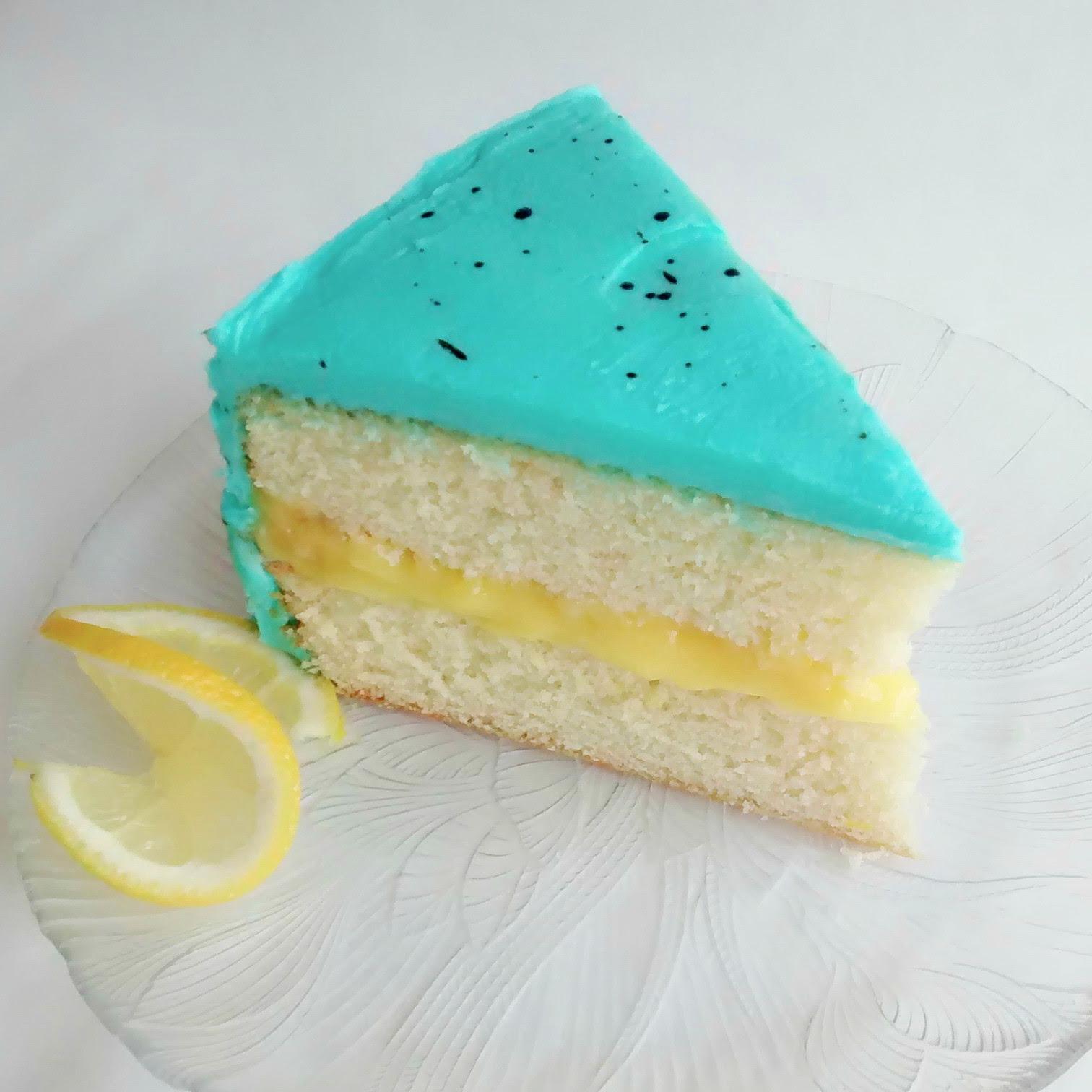 Lemon   White layers, lemon curd filling, and lemon buttercream. (shown here with robin's egg decoration)