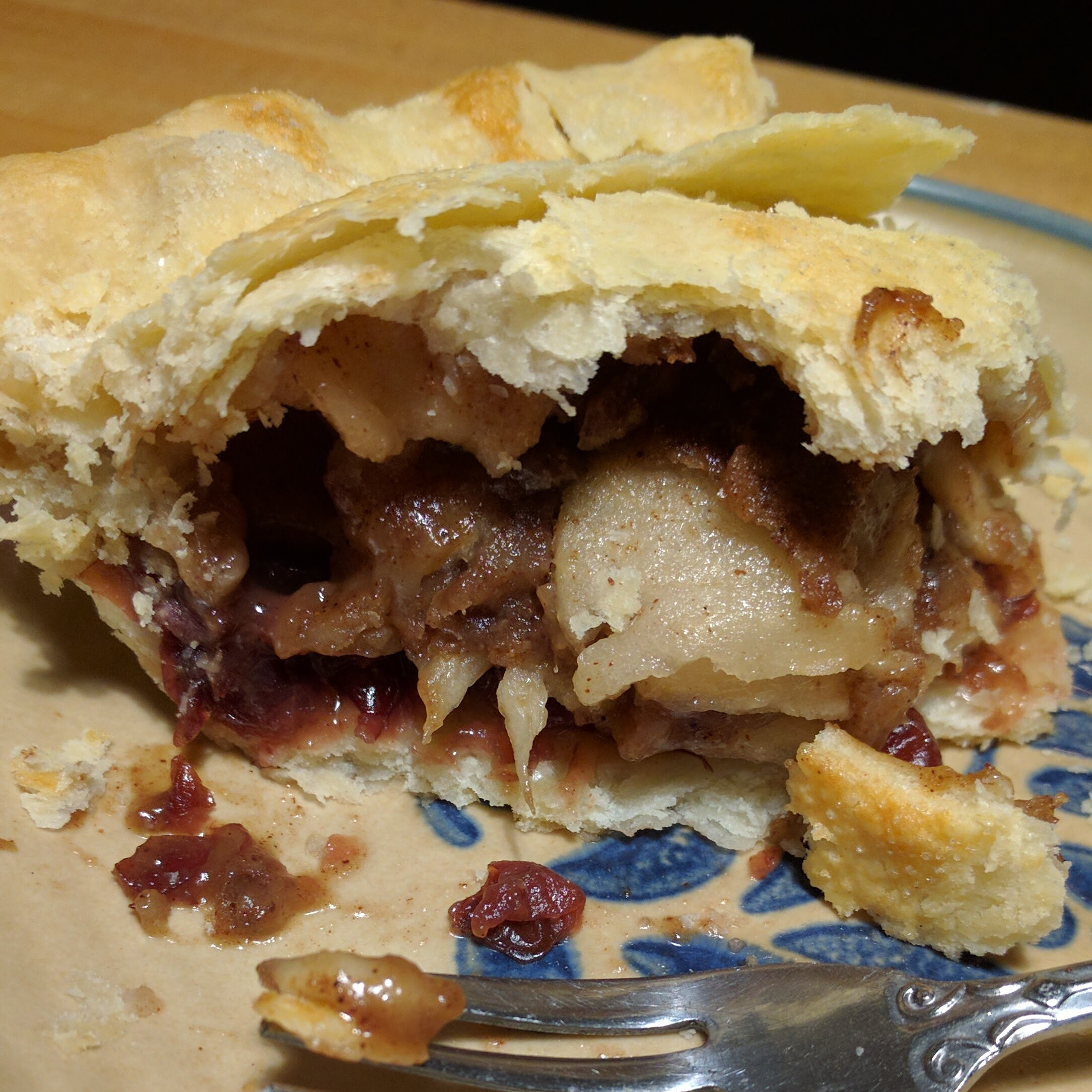 Apple Cranberry   Our delicious apple pie with a layer of cranberries on the bottom. It's a must try! $18