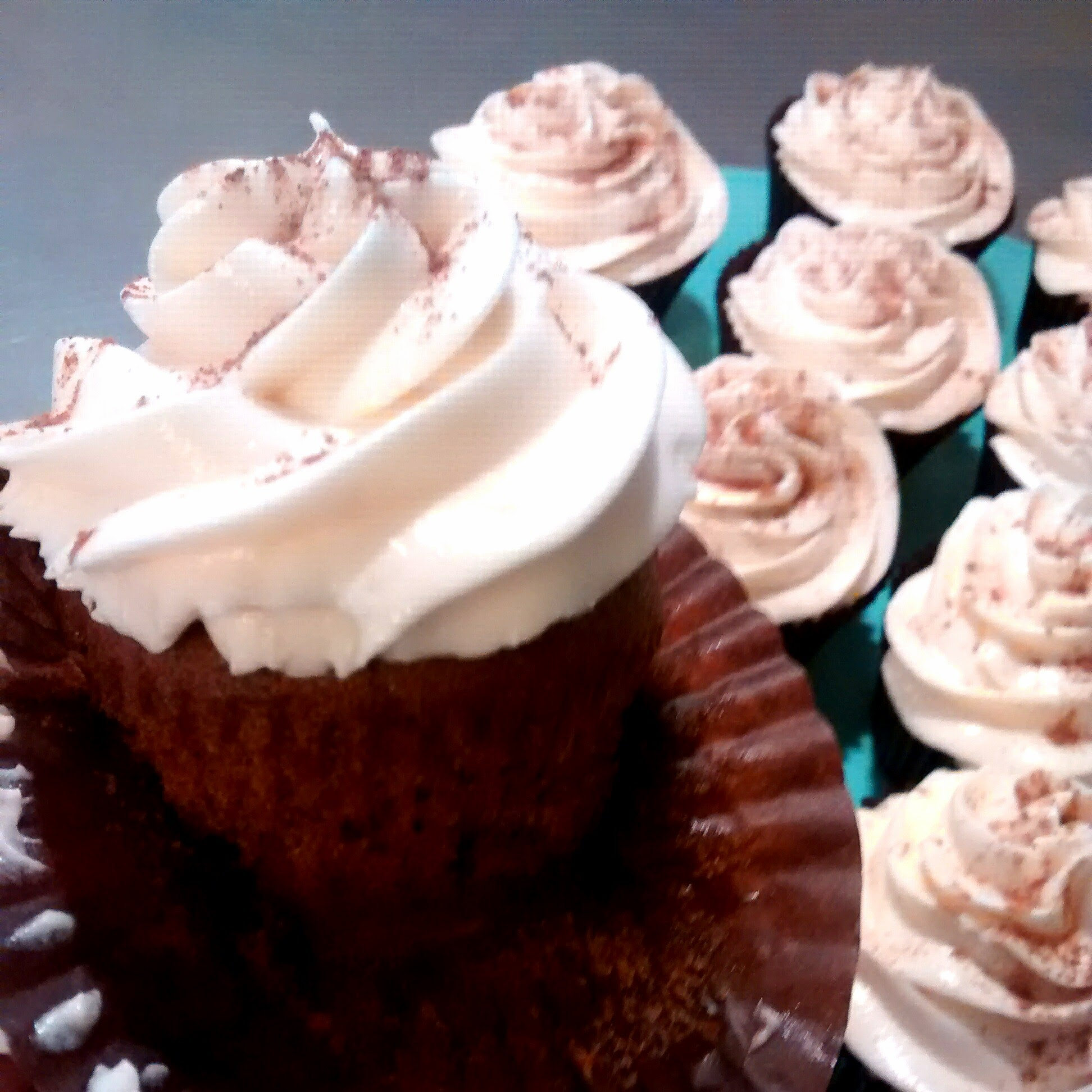 Chocolate with vanilla frosting and a dusting of cocoa powder