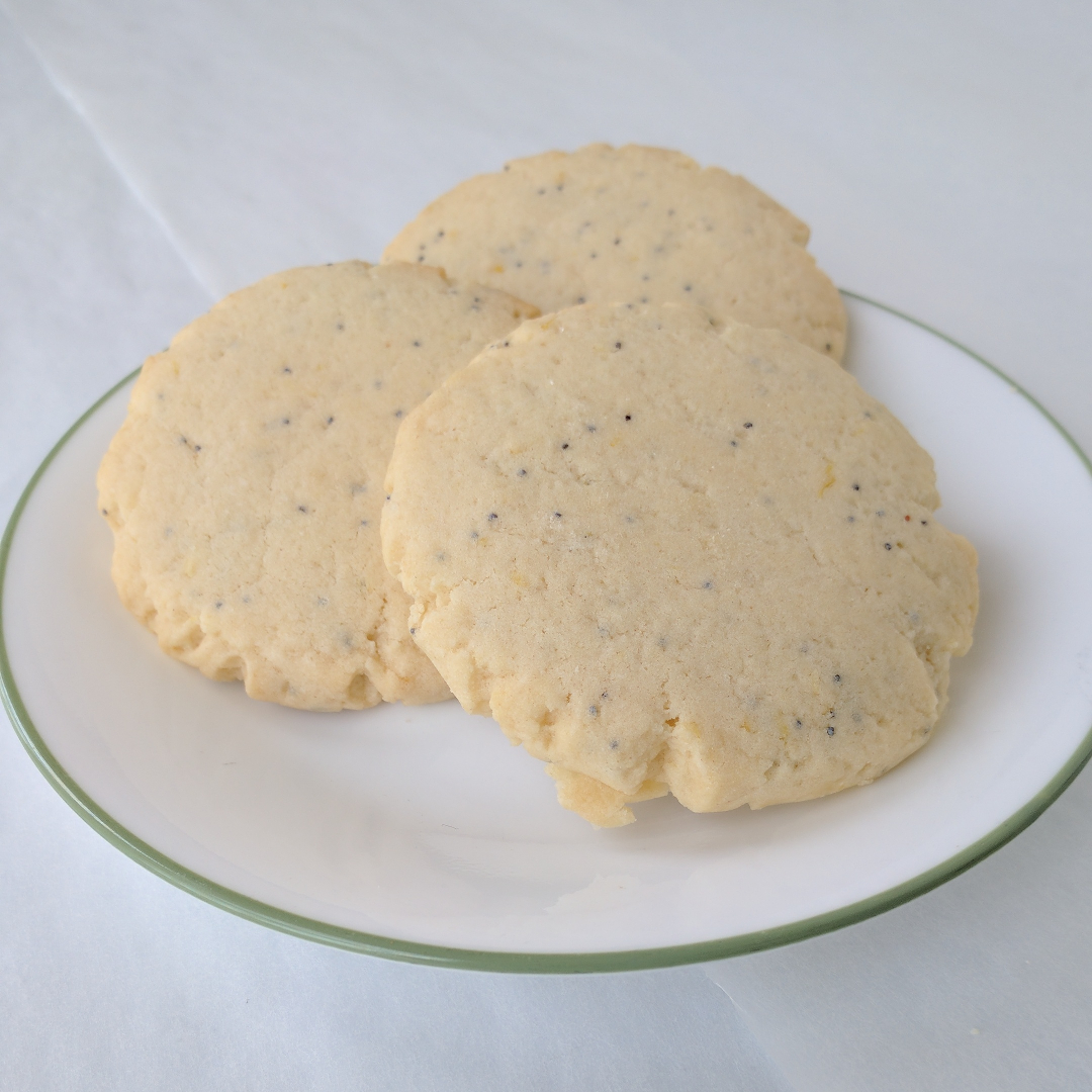 Lemon Poppyseed   Bright and lemony shortbread. (This is a seasonal flavor. Contact for availability.)
