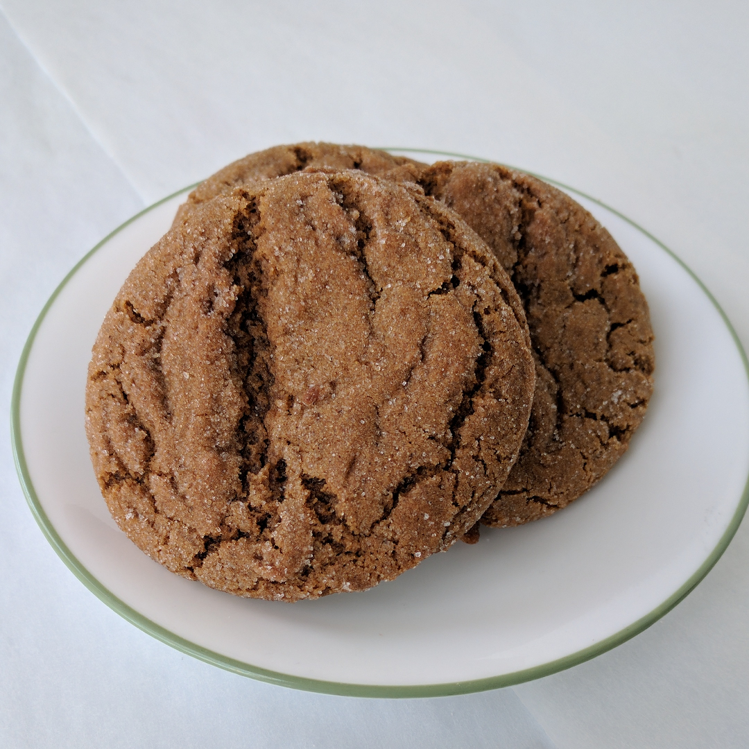 Molasses Ginger   This is no gingersnap. It's chewy and delicious, with molasses, dark brown sugar, cinnamon, cloves, and ginger. Just like grandma used to make.