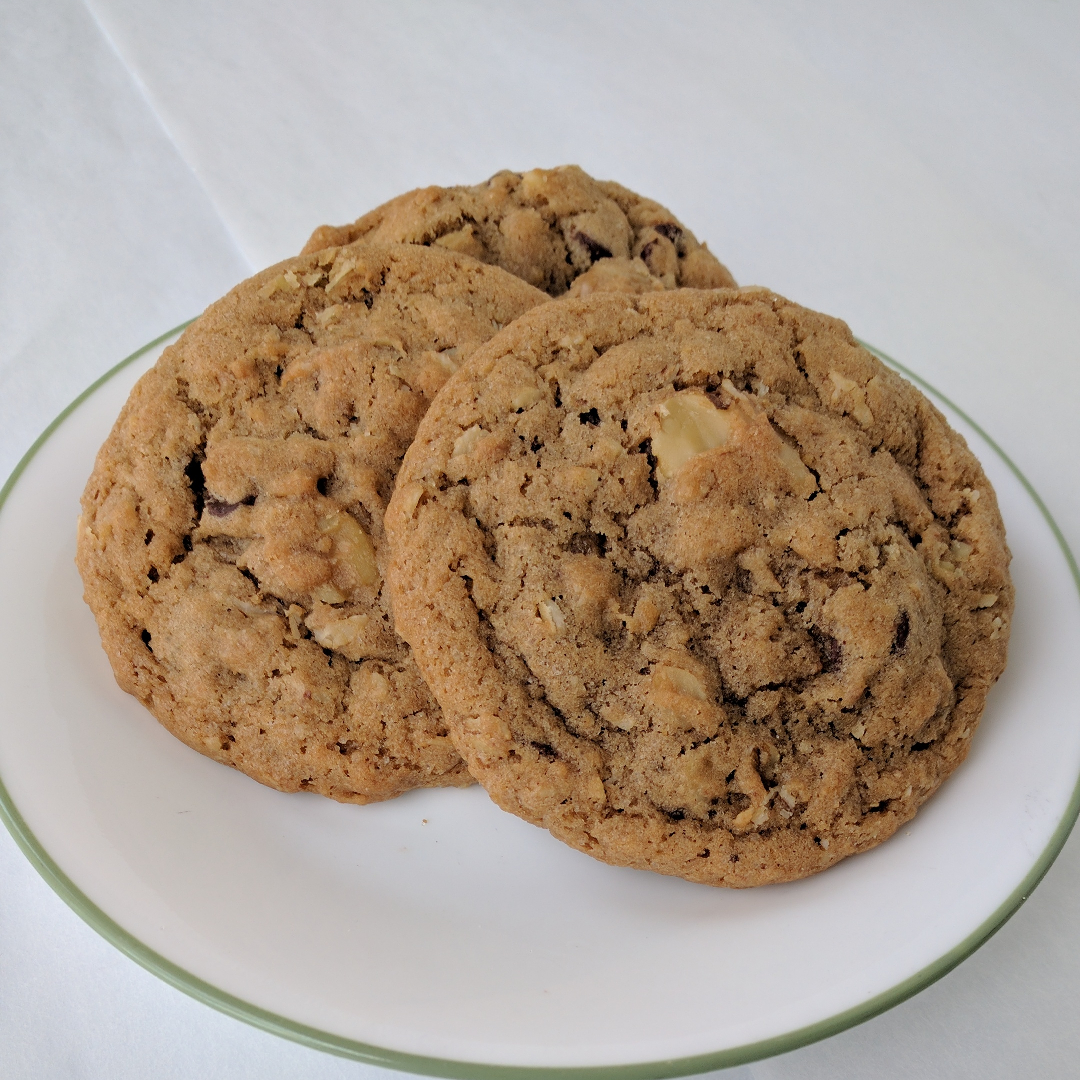 Oatmeal Walnut Chocolate Chip   Can't decide between oatmeal cookies or chocolate chip? No problem! We even added in some walnuts for you. (This is a seasonal flavor. Contact for availability.)