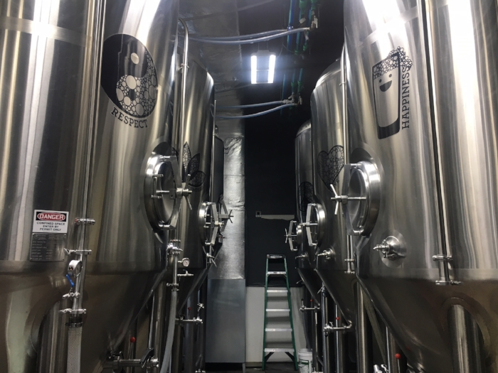 Our fermenters are named Respect, Happiness, Compassion, Hope, Love, Peace, Inspiration and Perseverance.
