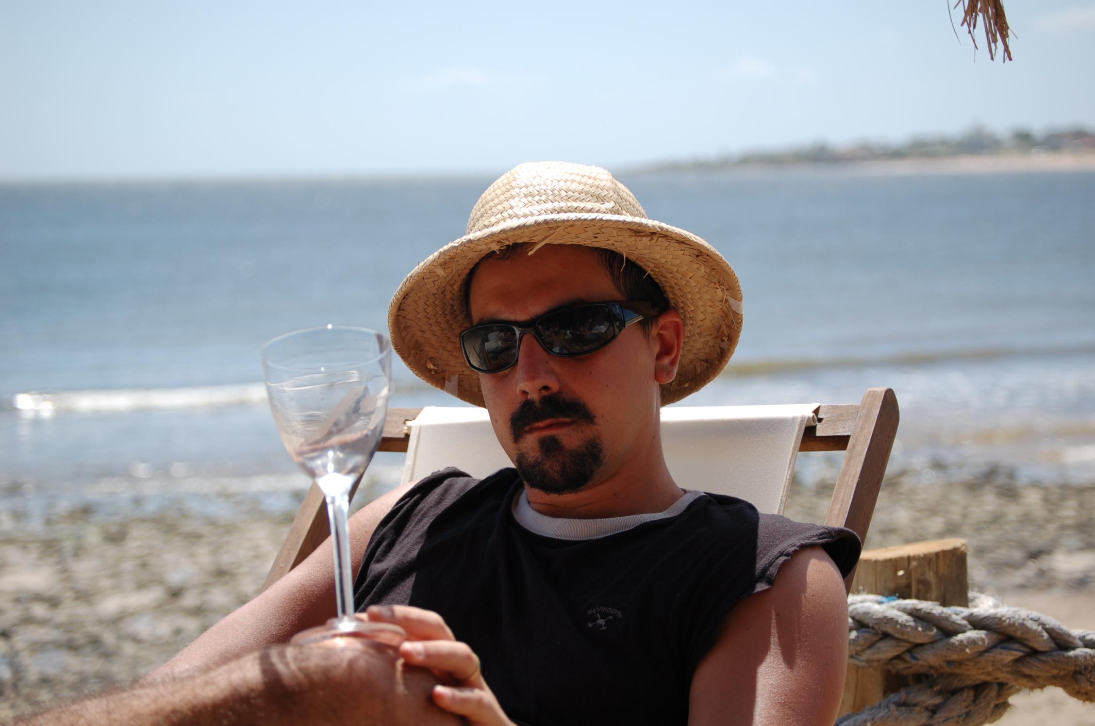 Tomás...composing...beachside in Piriapolis, Uruguay