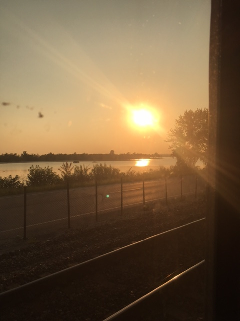 Particularly stellar sunset over the Mississippi River-no filter, that's just a dirty train window