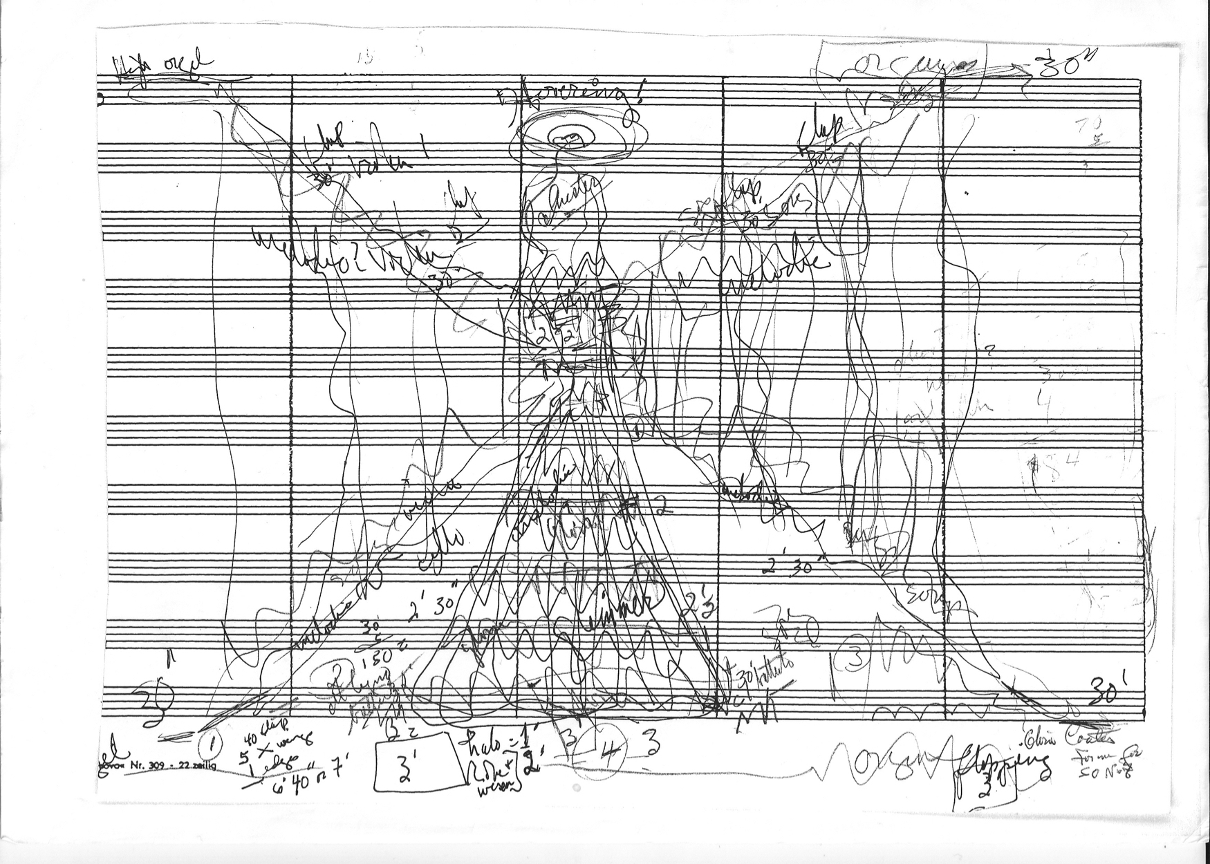 A pre-composition sketch by Gloria Coates
