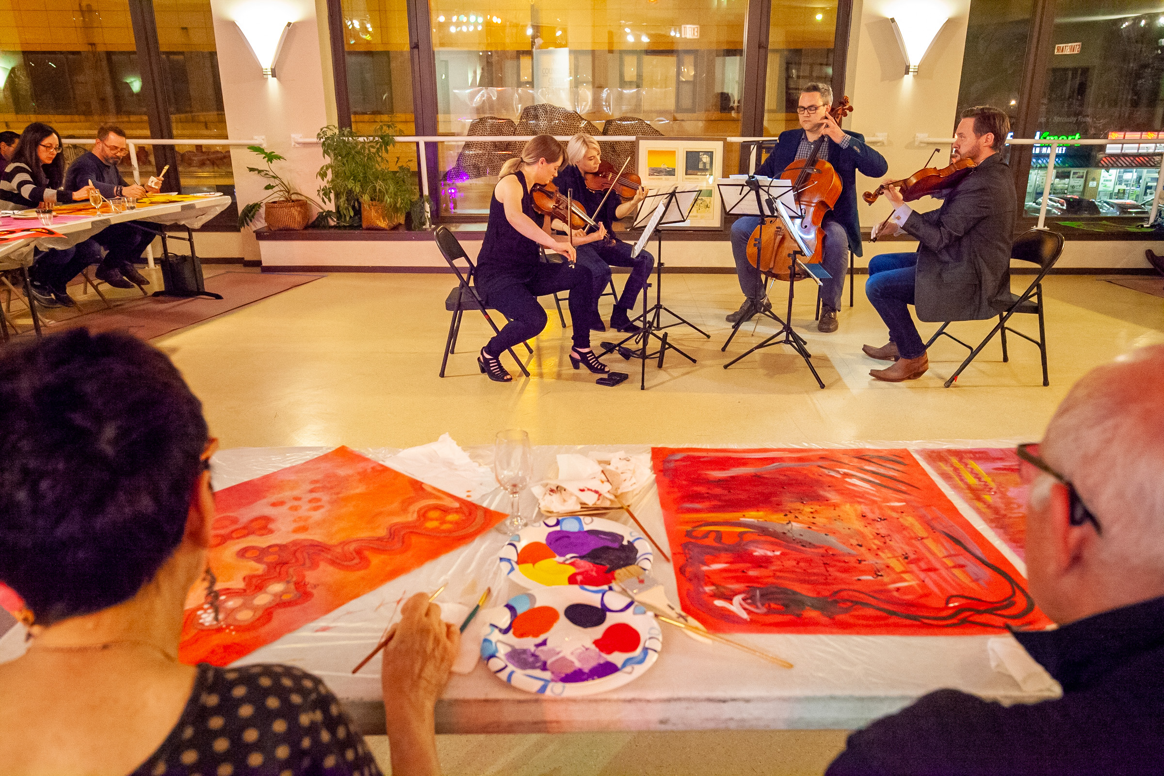 Painting to a live soundtrack at 'Paint Your Feelings' in 2018  (photo by Daniel Kullman)