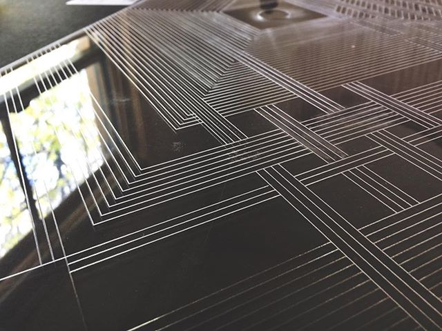 Acrylic cut detail from an upcoming digital / physical table. #table #furniture #interactiveart #relection #detail