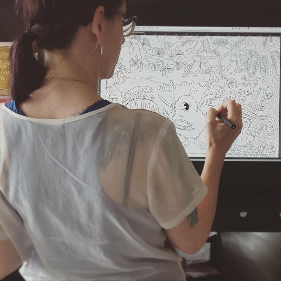 Kat working on her Intuos Cintiq