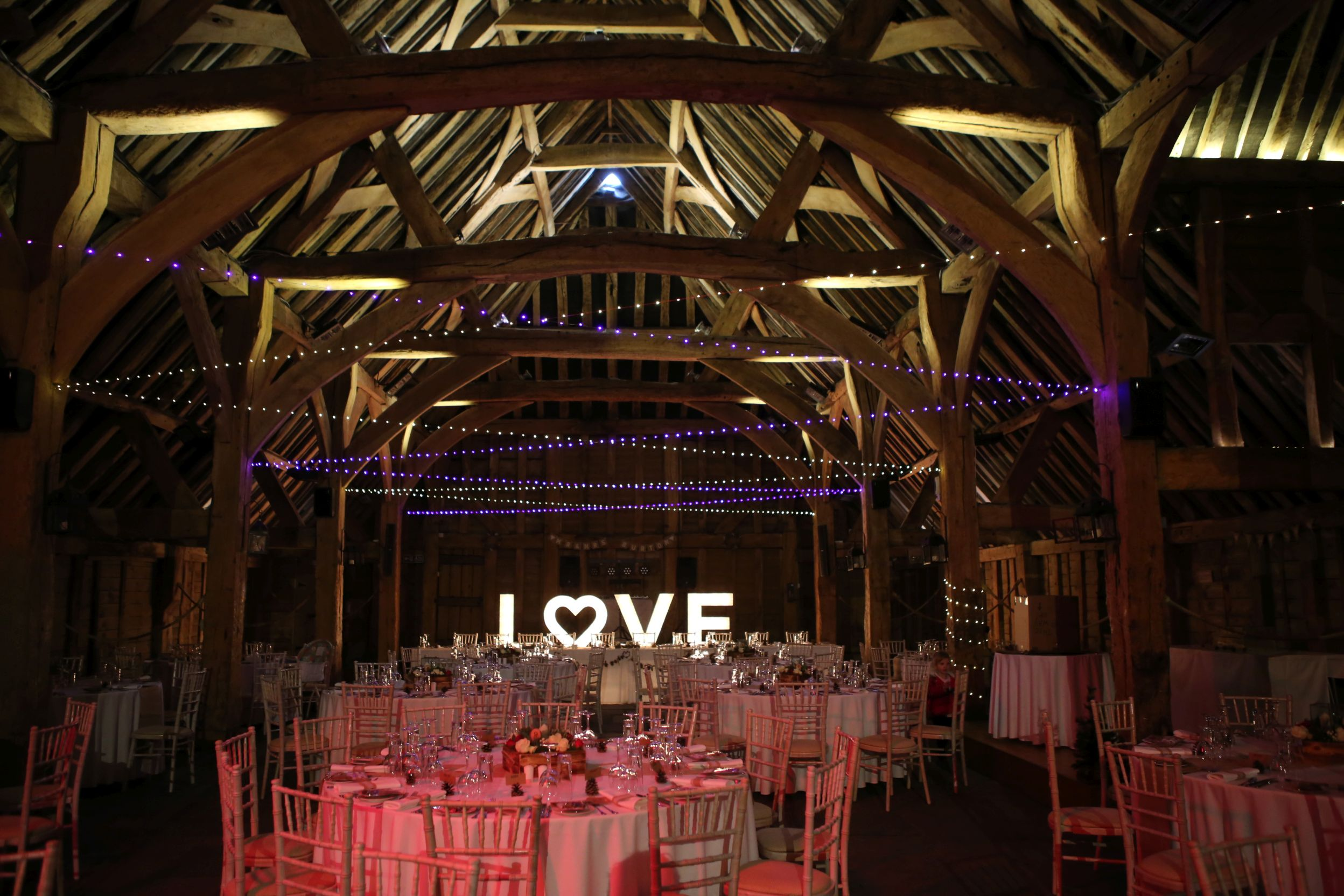 Our lovely floating light canopy at The Priory Barn