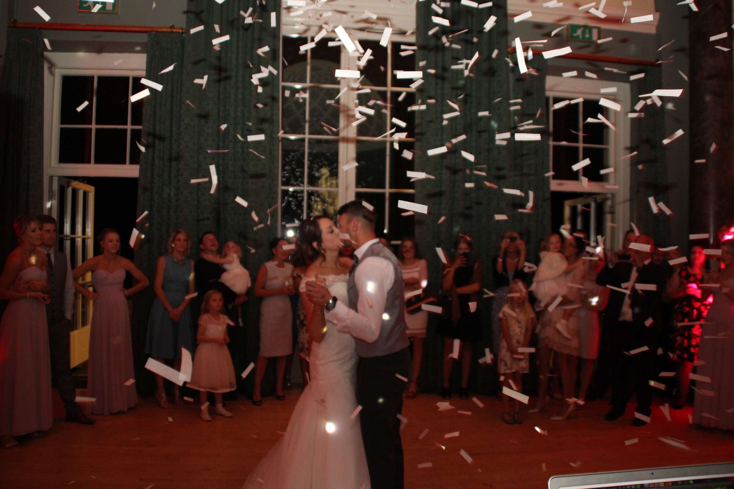 First dance with confetti Bluemark wedding DJ at The Sculpture Gallery