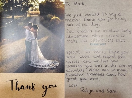 So grateful to receive all our thank you cards, we care enough to deliver the BEST entertainment #barmwedding #fairylights #hertsweddingdj #djandlighting #barnweddingvenue  #stunningbarn #loveletters