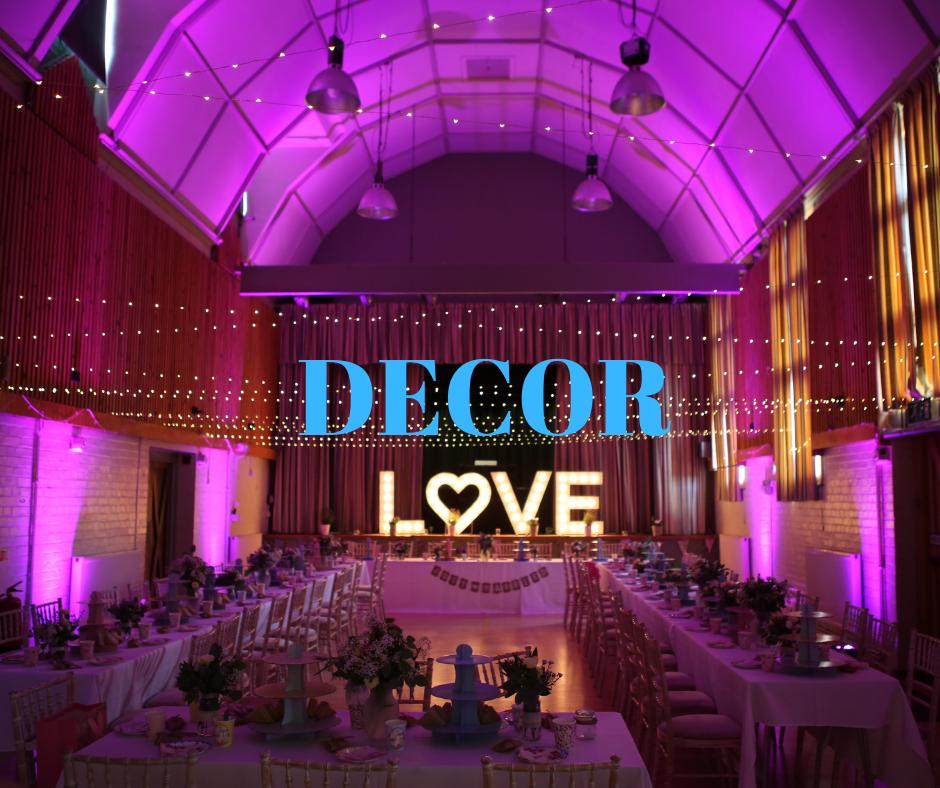 venue decor and lighting