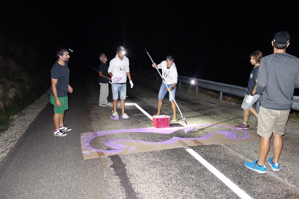 Méchants painting the mountain purple before Le Tour