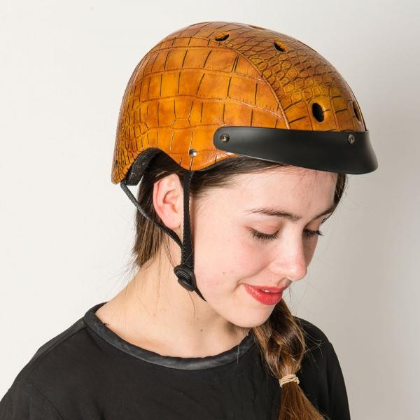 Make it snappy! The Sawako Furuno Ladies' moc-croc helmet in brown and black