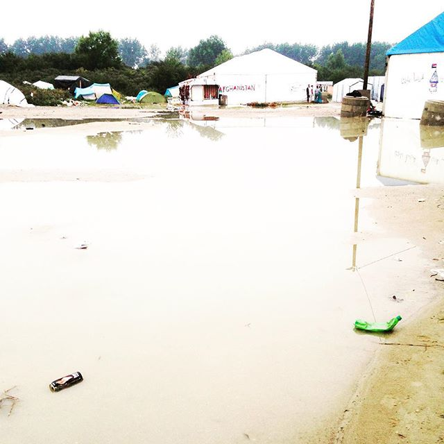 The frequently flooded camp