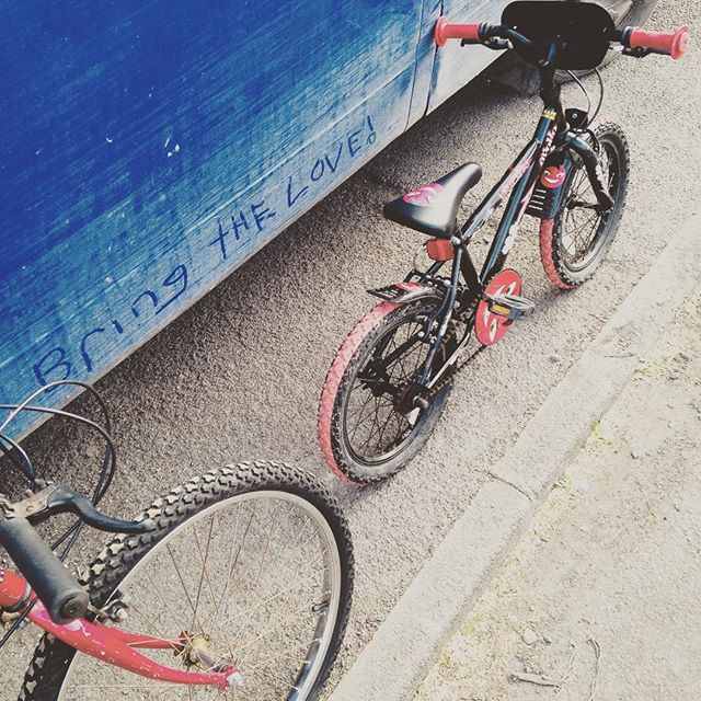 """Children's bikes waiting for their new owners """"Bring the Love"""""""