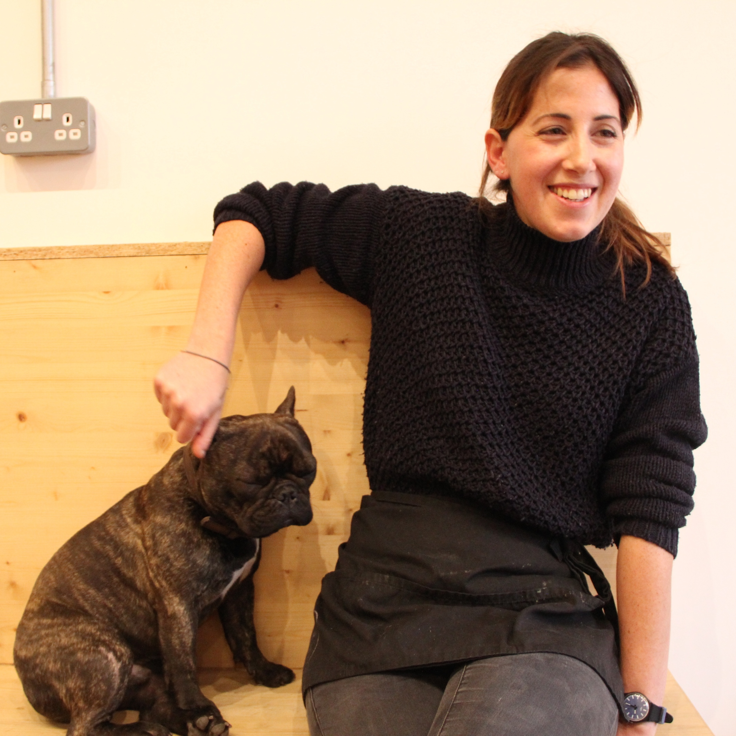 Owner Sophie McMillan who runs the cafe with help from her French bulldog Maurice