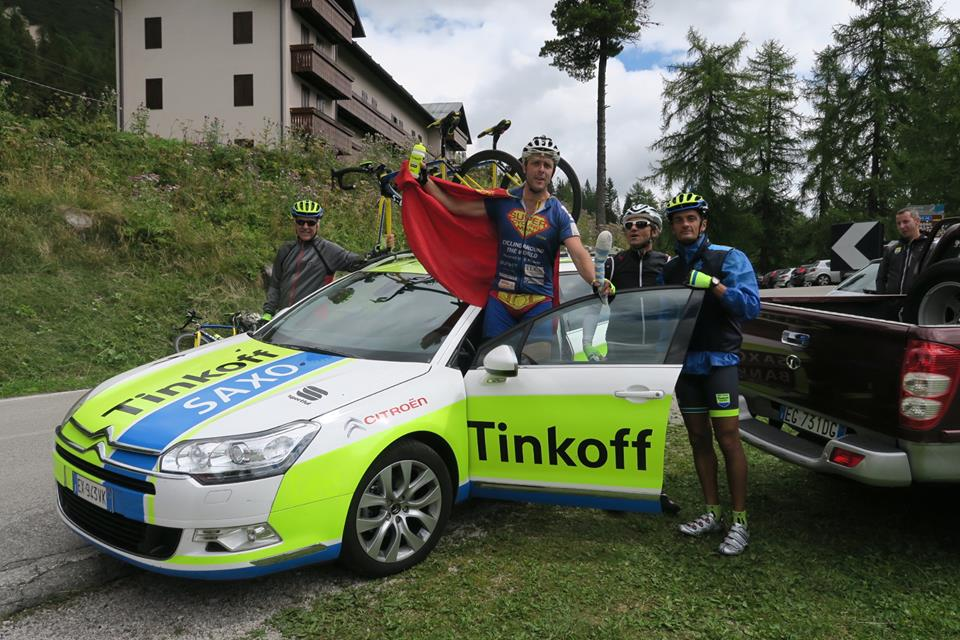 Super Cycling Man meeting his heroes from team Tinkoff-Saxo in the Dolomites