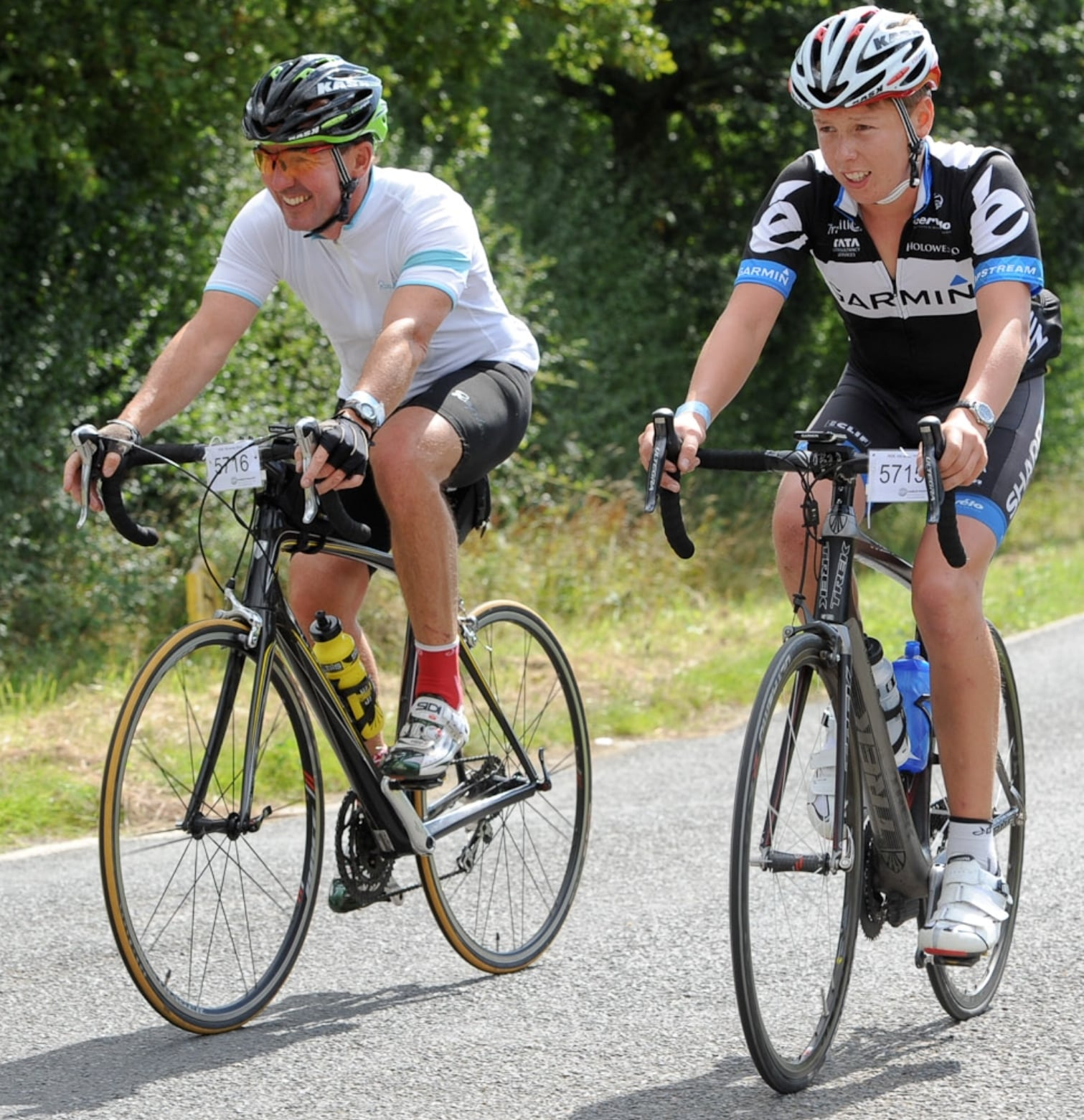 Chris Middleton riding a sportive with his son Harry now on the original Trek bike