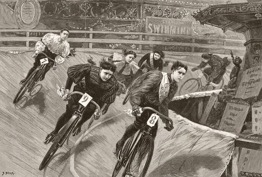 Six Day Women's Racing at the Aquarium in London 1896