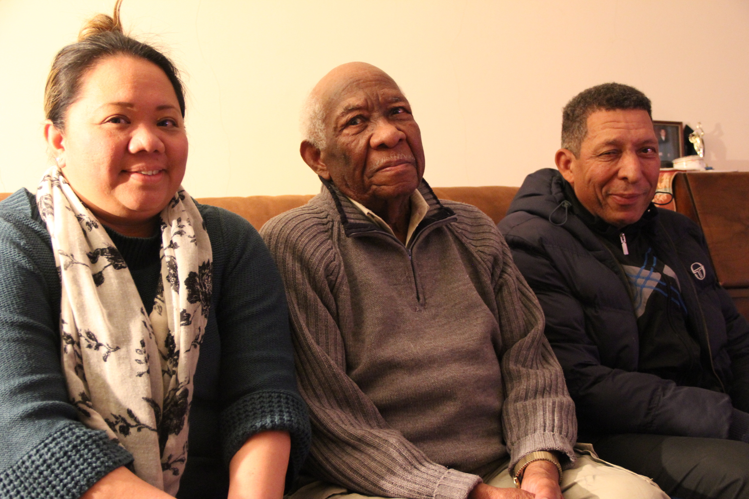 Mia, Maurice and Maurice's father, who is finally accepting Maurice's career choice aged 96!