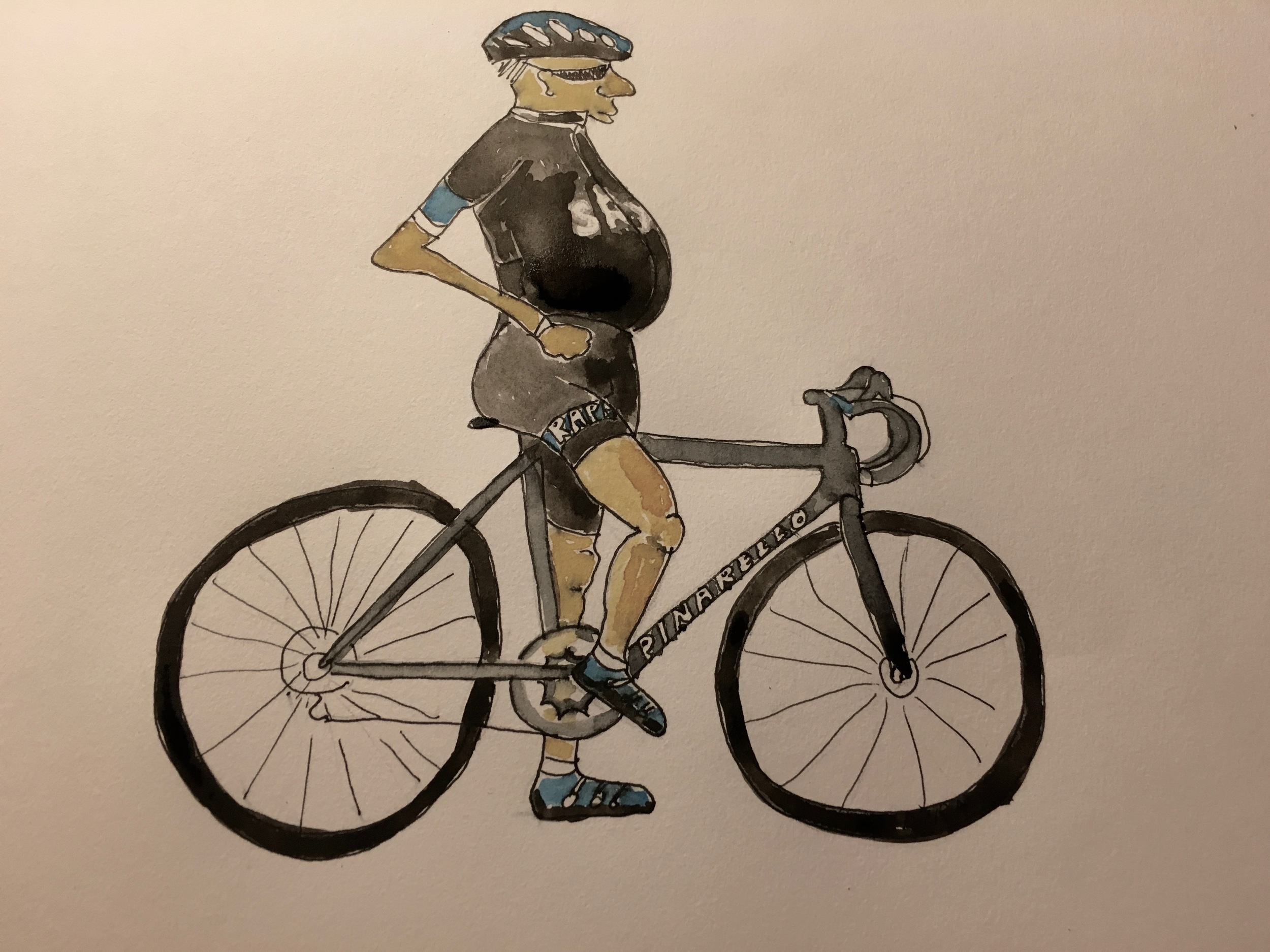 Rapha Man stops for a breather on his Pinarello Dogma
