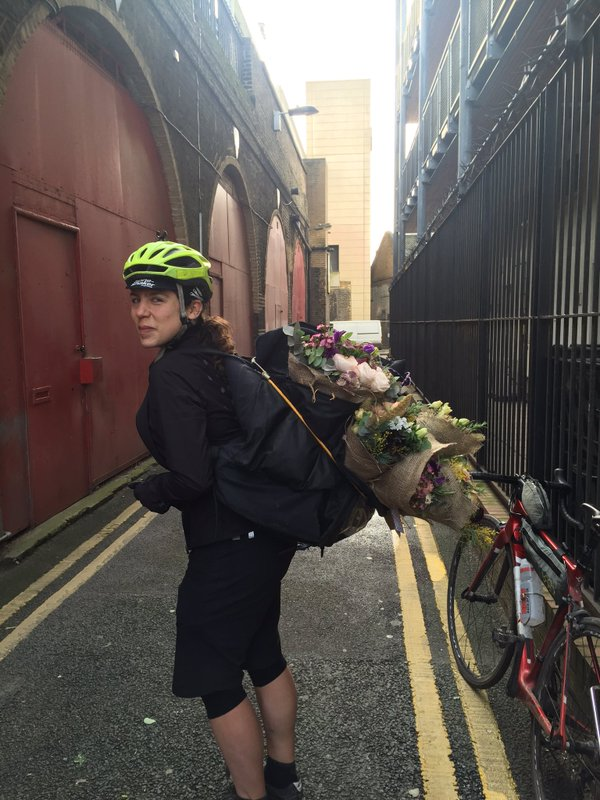 Emily delivering flowers on St Valentine's Day  courtesy of Twitter