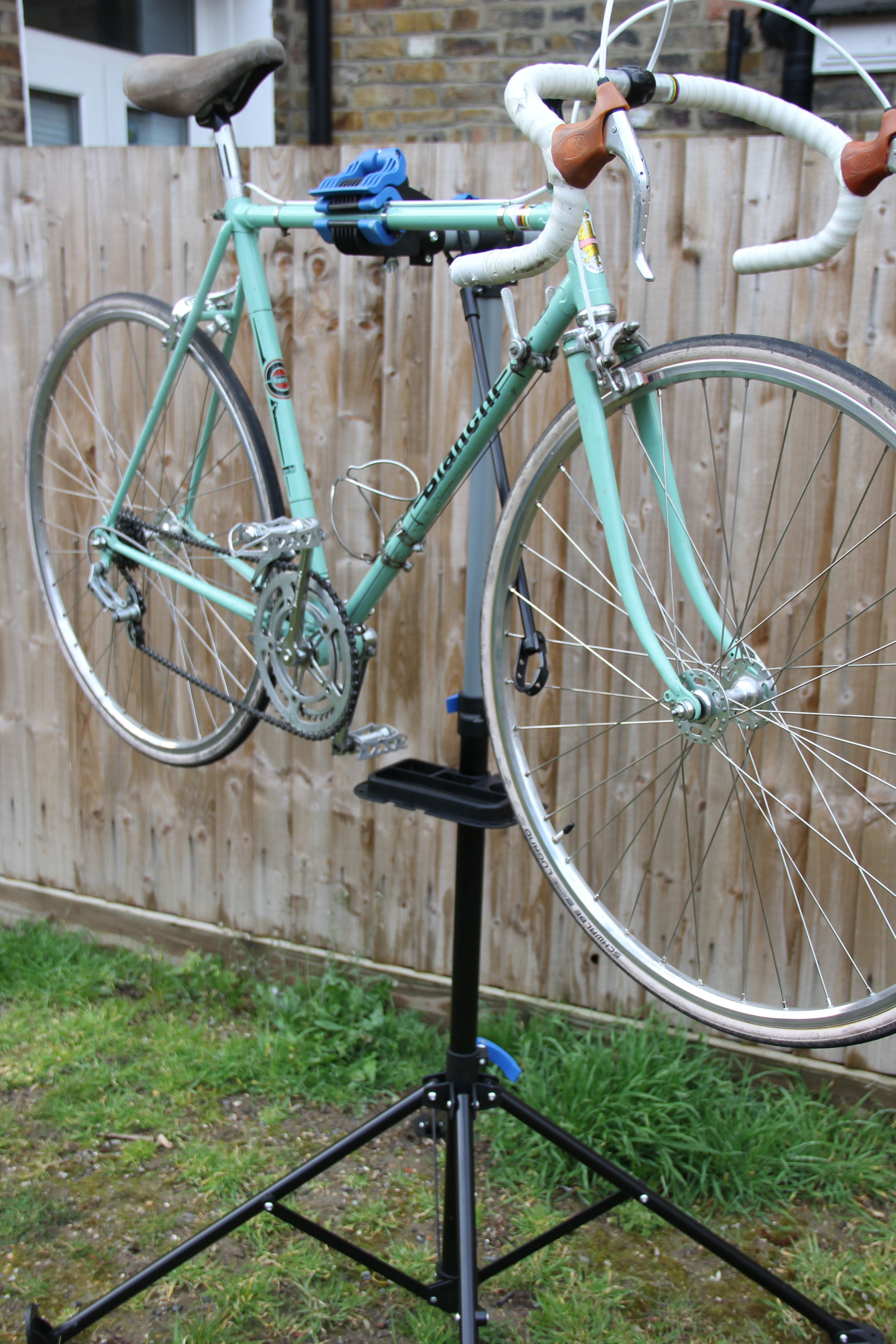 The Ride Velo Bianchi securely atop the £24.99 workstand
