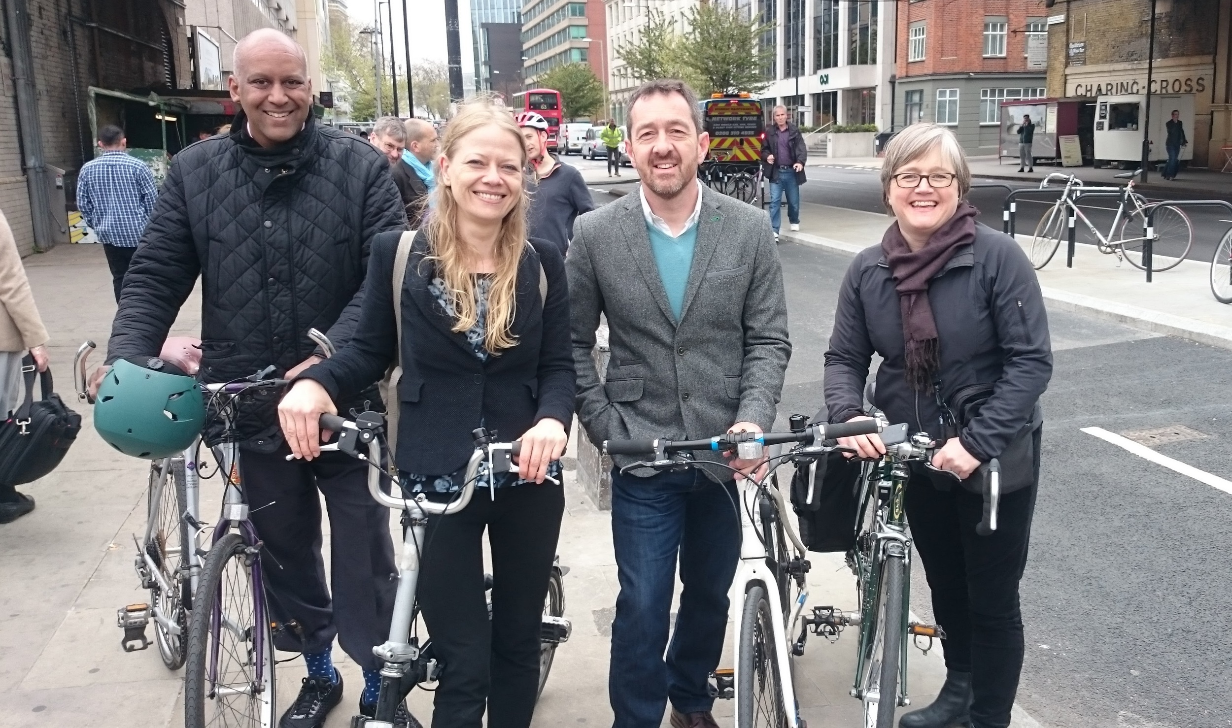 Chris Boardman with Green Party candidate Sian Berry