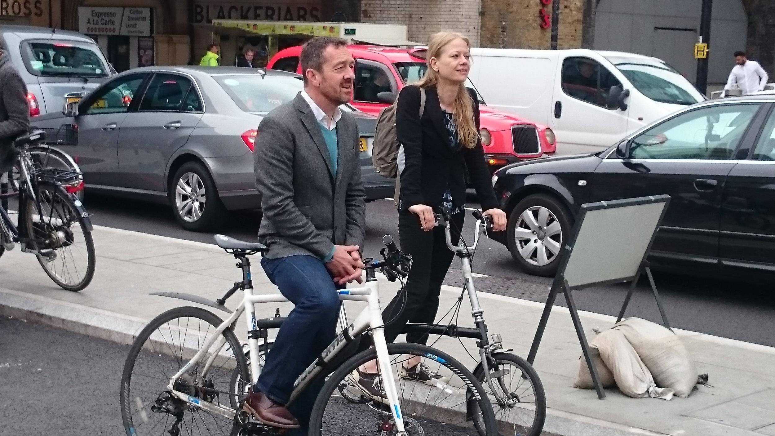 Chris Boardman on Press Officer Simon's Boardman bike