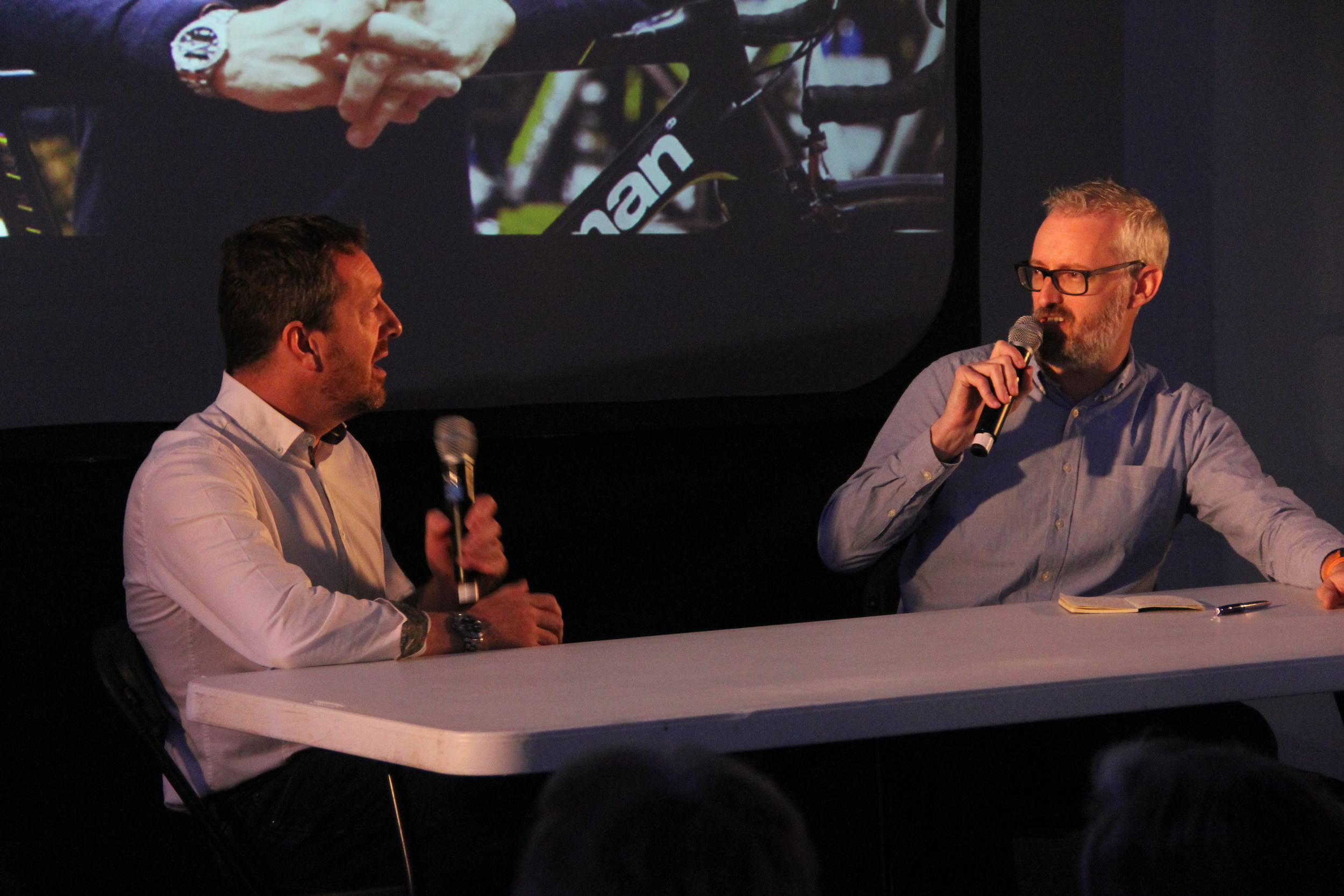 Chris Boardman with Rob Spedding of Cycling Plus