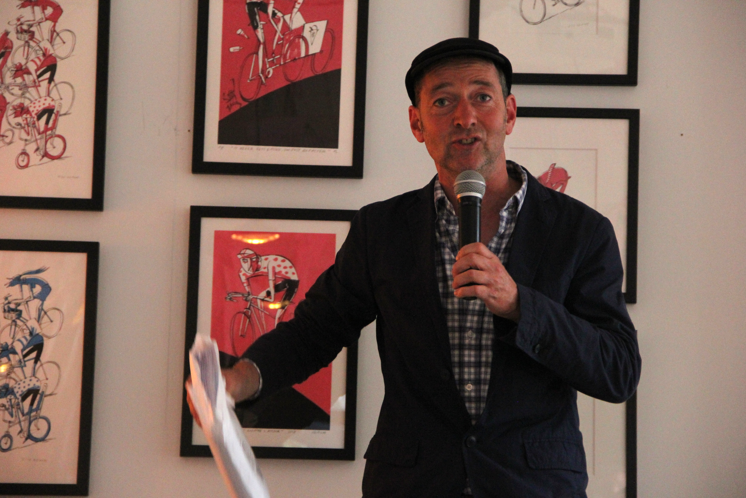Ned Boulting reads from the manuscript of Velosaurus