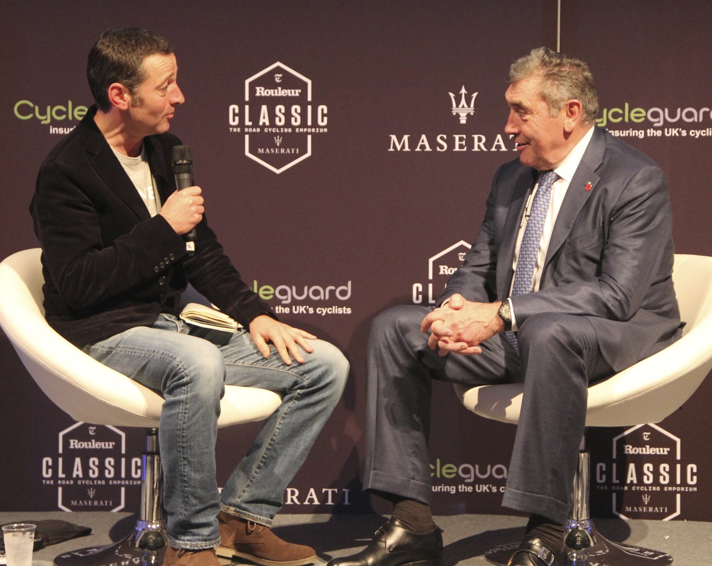 Ned Boulting and Eddie oops Eddy Merckx at the Rouleur Classic last year