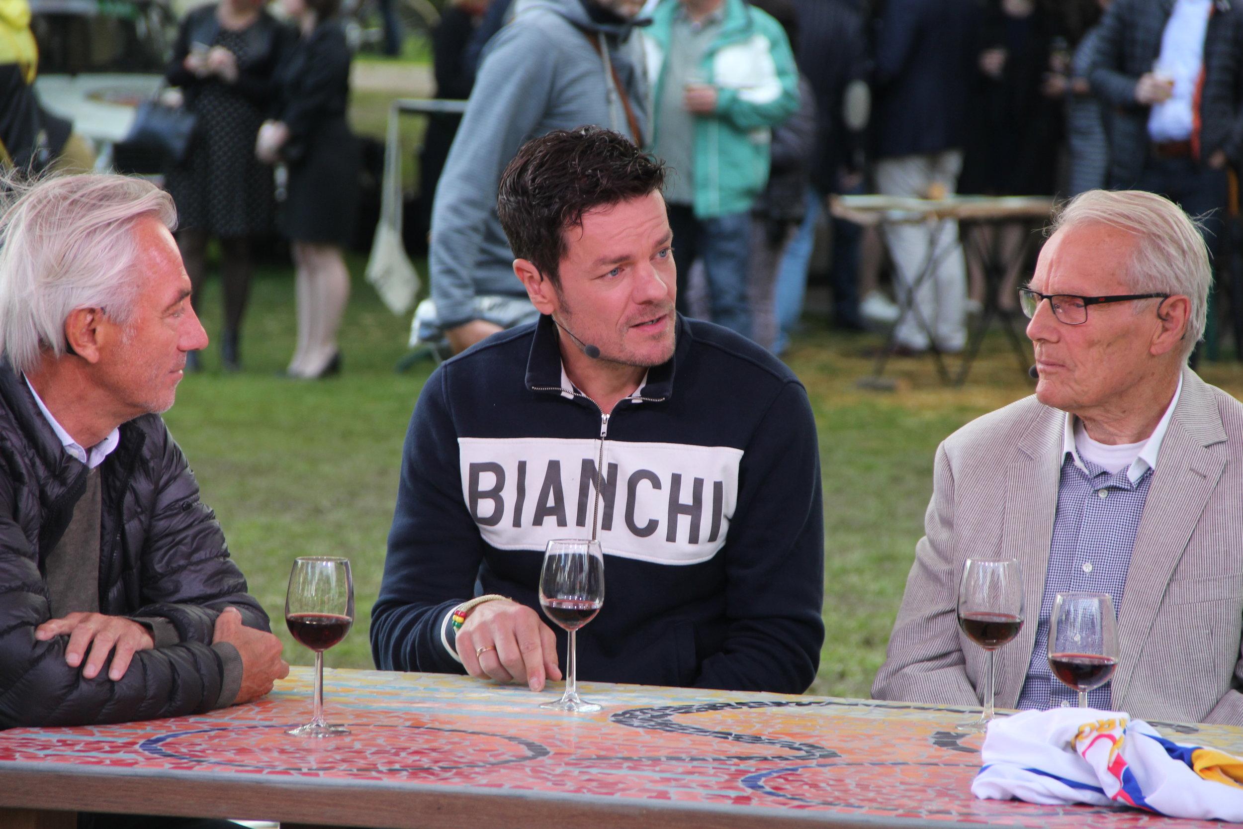 Marc being interviewed on Dutch TV at Eroica Limburg with former Dutch Football manager Bert van Marwijkand and Olympic cyclist Jan Jannsen