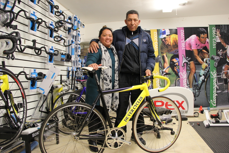 Maurice Burton with wife Mia at their south London Bike shop: De Ver Cycles