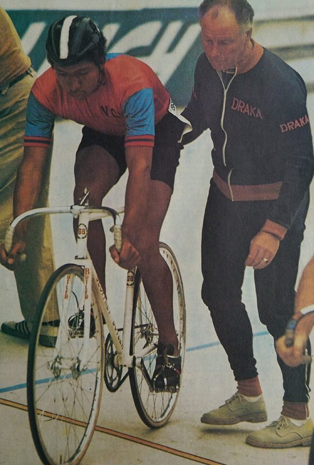 Maurice in his racing days with the legendary Reg Harris