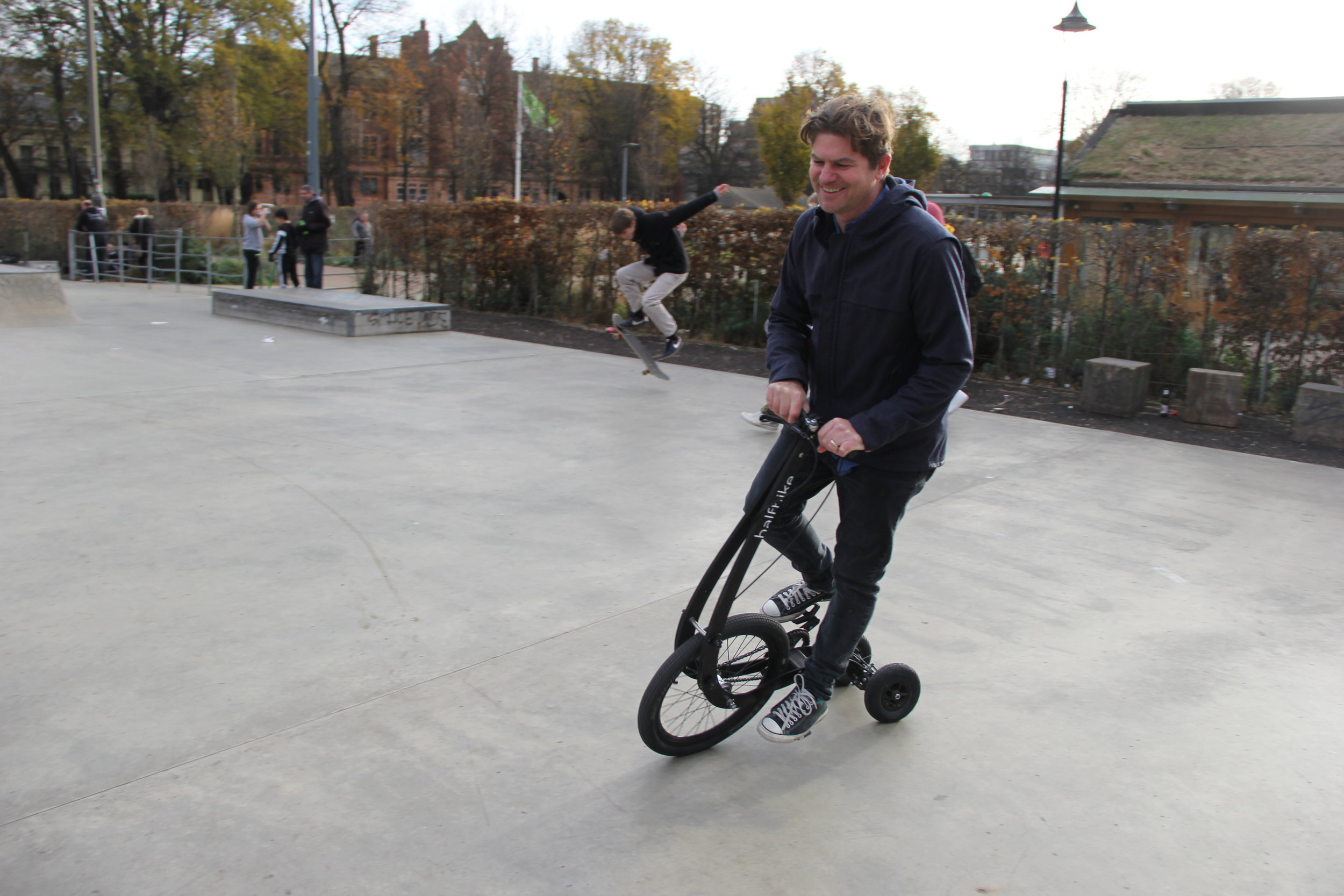 Robbie gets to grips with Halfbike at The Level, Brighton's skate park