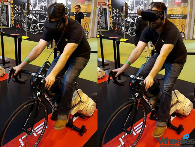 zwift and elite virtual reality turbo trainer