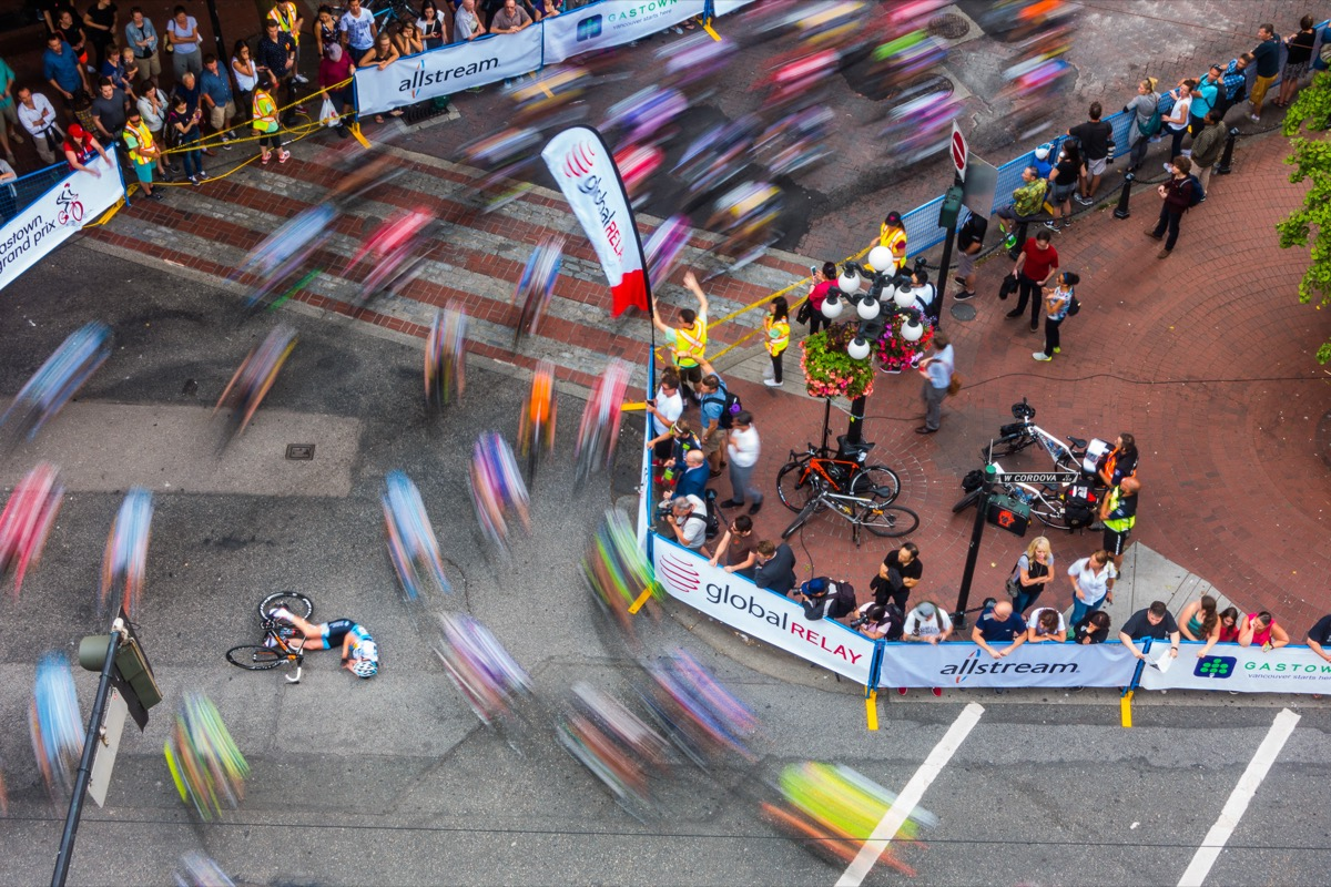 """""""Beauty & Danger of Racing – Unfortunate crash during the Women's 2015 Gastown Grandprix. Lindsay Bayer crashed on the hairpin corner but walked away from it and ended up finishing the race.""""  Stefan Feldmann"""