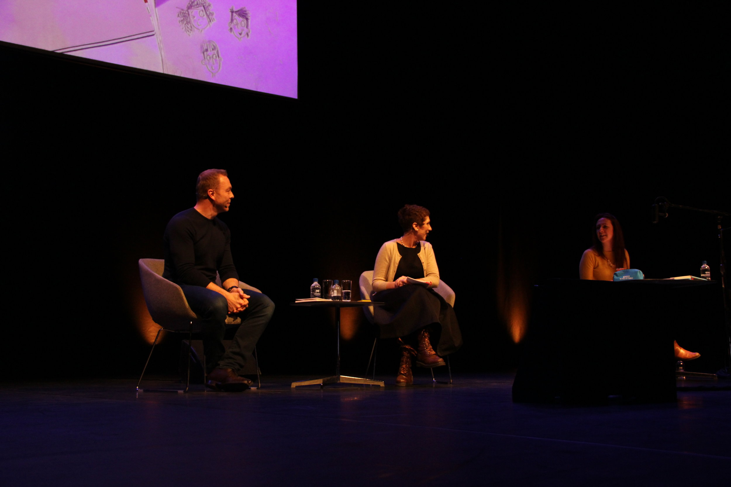 On stage at The Festival Hall with writer Joanna Nadim and illustrator Clare Elsom