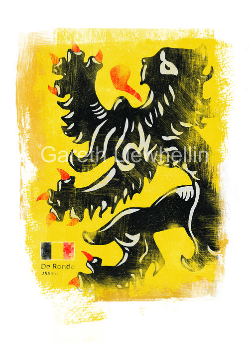Gareth Llewhellin's  Flanders limited edition print is available form the  Ride Velo shop