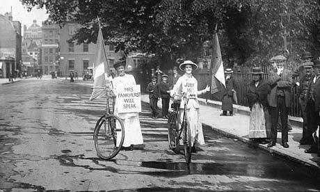 Suffragettes on bikes