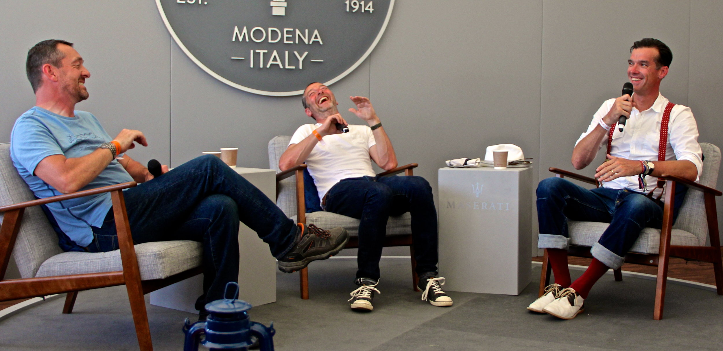 Chris Boardman, Ned Boulting and David Millar in relaxed mode in the Maserati Lounge